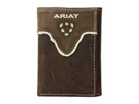 Ariat Shield Cut Out Overlay Trifold Wallet Medium Brown Distressed Ivory Wallet