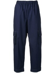 Semicouture Cropped Cargo Trousers Blue