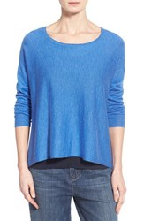 Petite Women's Eileen Fisher Cashmere Bateau Neck Sweater Blue Bell