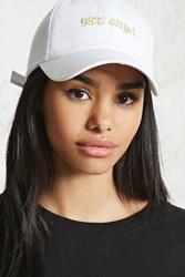 Forever 21 98 Percent Angel Graphic Cap White Gold