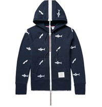 Thom Browne Shark Embroidered Loopback Cotton Jersey Zip Up Hoodie Midnight Blue