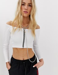 The Ragged Priest Off Shoulder Crop Top With Chain Detail White