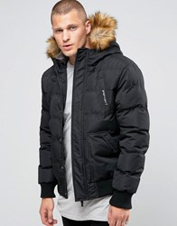 11 Degrees Padded Jacket With Faux Fur Collar Black