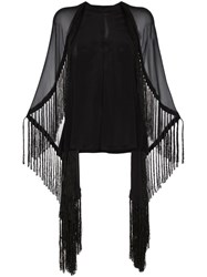 Kitx Humane Fringed Silk Cape Top Black