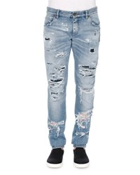 Dolce And Gabbana Light Wash Distressed Denim Jeans Light Blue