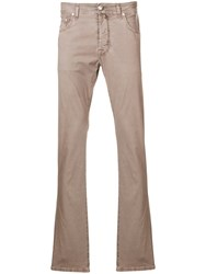 Jacob Cohen Straight Leg Trousers Neutrals