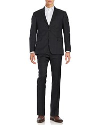 Michael Kors Muted Plaid Wool Suit Set Black