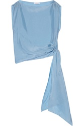 Vionnet Bow Detailed Silk Top Blue
