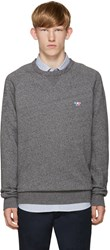 Maison Kitsune Grey Embroidered Pullover