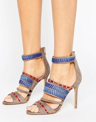 Forever Unique Adaline Patterned Heeled Sandal Taupe Beige