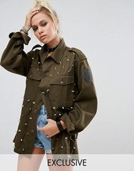 Milk It Vintage Military Shirt With All Over Studs Khaki Green