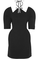Marni Cutout Embellished Bonded Jersey Mini Dress Black