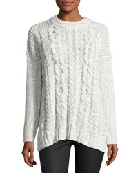 Cynthia Steffe Drop Shoulder Cable Knit Sweater Off White