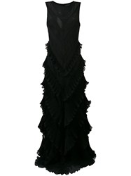Capucci Ruffle Flared Maxi Dress Black