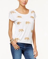 Inc International Concepts Petite Embellished Elephant Print T Shirt Only At Macy's Bright White