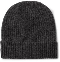 Anderson And Sheppard Ribbed Cashmere Beanie Gray