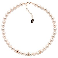 Finesse Faux Pearl Glass Crystal Necklace Pink Gold