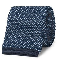 Dunhill 6.5Cm Knitted Mulberry Silk Tie Blue