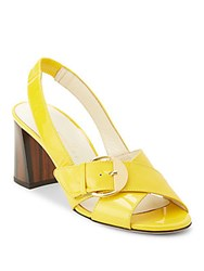 Bettye Muller Pepper Patent Leather Slingback Sandals Cuoio