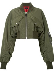 G.V.G.V. Cropped Bomber Jacket Green