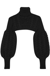 Valentino Cropped Cable Knit Wool Turtleneck Sweater Black