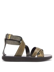 Isabel Marant Nasha Printed Python Studded Leather Sandals Brown Multi