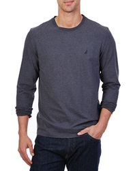 Nautica Long Sleeve Crewneck Stretch Cotton Tee Charcoal Heather