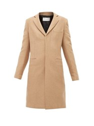 Saint Laurent Single Breasted Camel Hair Coat Camel