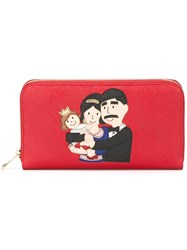 Dolce And Gabbana Family Patch 'Dauphine' Wallet Red