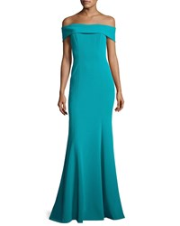 Theia Off The Shoulder Stretch Crepe Gown Teal