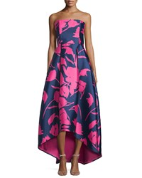 Sachin And Babi Noir Strapless Floral Print High Low Gown Navy Pink Trppnk