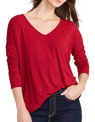 Lauren Ralph Lauren Striped Jersey V Neck Tee Red