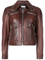 Coach Harness Detail Leather Jacket Brown