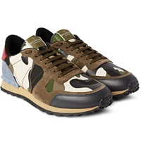 Valentino Studded Camoflauge Leather Canvas And Suede Sneakers