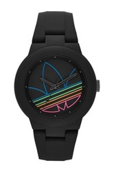 Adidas Unisex Aberdeen Casual Silicone Watch Black And Multi