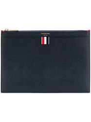 Thom Browne Bi Colour Small Zipper Tablet Holder In Pebble Grain Blue