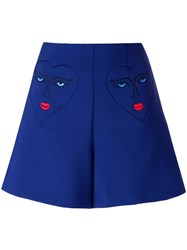 Vivetta Heart Embroidery Tailored Shorts Blue