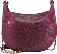 Zagliani Snakeskin Linda Small Shoulder Bag Purple