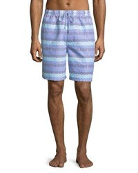 Peter Millar Sail Away Swim Trunks Bright Blue