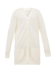 Christopher Kane Faux Pearl Embellished Wool Cardigan Beige