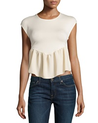 Casual Couture Lace Back Peplum Crop Top Sheer Sand