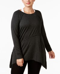 Calvin Klein Performance Plus Size Long Sleeve Asymmetrical Hem Tunic Black Slate Heather