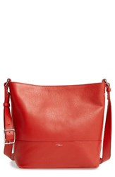 Shinola Small Relaxed Leather Hobo Bag Red Chili Pepper