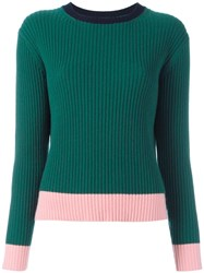 Chinti And Parker Ribbed Colour Block Jumper Green