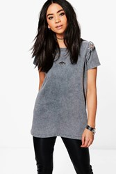 Boohoo Lace Up Shoulder T Shirt Grey