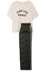 Love Stories Embroidered Cotton Jersey And Leopard Print Satin Pajama Set Cream
