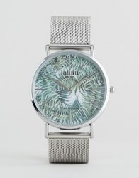 Reclaimed Vintage Tiger Print Mesh Watch In Silver Silver