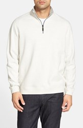 Tommy Bahama Men's 'Flip Side' Reversible Quarter Zip Twill Pullover Winter White Heather