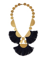 Fringe Disc Statement Necklace Blue Tory Burch