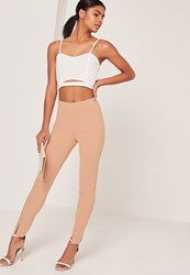 Missguided Skinny Fit Cigarette Trouser Nude Brown